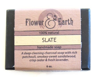 Slate Charcoal Soap: Bar Soap with Sandalwood, Patchouli, Lavender, Cedar. Natural, Vegan, Essential Oils, Olive Oil Soap. Plastic Free Soap