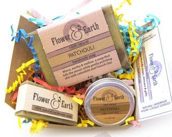 Patchouli Soap Gift Box: Patchouli Vegan Soap, Shea Butter Patchouli Salve and Guest Soap Favor. Patchouli Soap and Salve Boxed Gift Set.