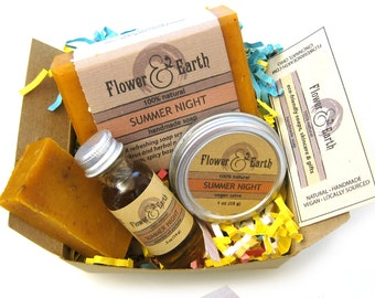 Boxed Gift Set with Summer Night Vegan Soap, Salve & Perfume Oil: Orange and Patchouli Soap. All Natural Soap and Vegan Salve. Bar Soap Gift