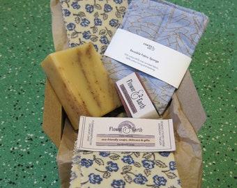 Eco-friendly Kitchen Soap Gift Set: Lemongrass Kitchen Bar Soap, Reusable Sponge, Beeswax Wrap. Zero Waste Kitchen. Plastic Free Kitchen.