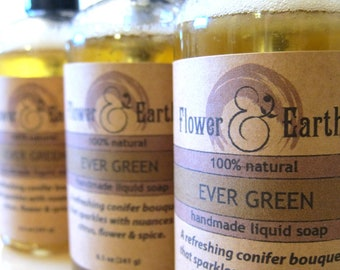 Ever Green Liquid Soap: Vegan EverGreen Liquid Soap w/ Olive Oil. Pine Liquid Soap. Fir Needle Soap with Orange, Lavender, Cedar & Cinnamon.