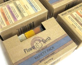 Variety Pack of Handmade Soaps, A Set of SIX: Soap Favors in Brown Kraft Box. Soap Sampler. Wedding Favor Soap. Stocking Stuffer Soap.