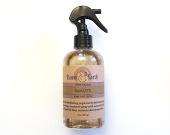Namaste Yoga Mat Spray with Thyme, Lavender, Peppermint, Cedar Oils. Refreshing Room Spray with Patchouli Essential Oil and Witch Hazel. 8oz