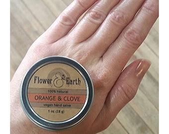 Orange and Clove Vegan Hand Salve. Shea Butter and Calendula-infused Olive Oil Salve. Orange Salve. Clove Salve. Shea Butter Salve.