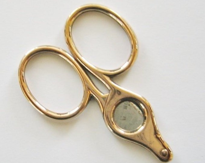 Vintage....9K Gold & Stainless Steel, Scissor Style.. Cigar, Cigarello Cutter.