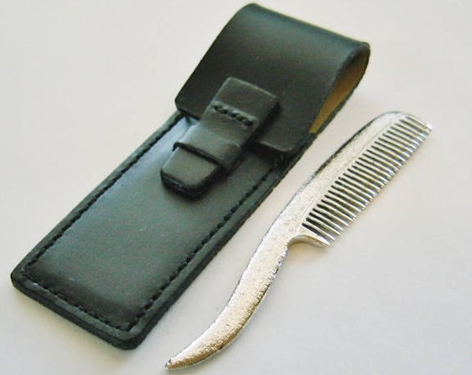 Unique...Sterling Silver Mustache Comb, W/ Leather Pouch... Made by Simmons.