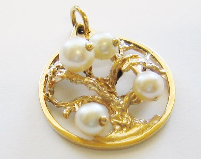 "Vintage...14K Solid Gold & Pearl, Oak Tree ""Good Luck"" Pendant, Tree Of Life."