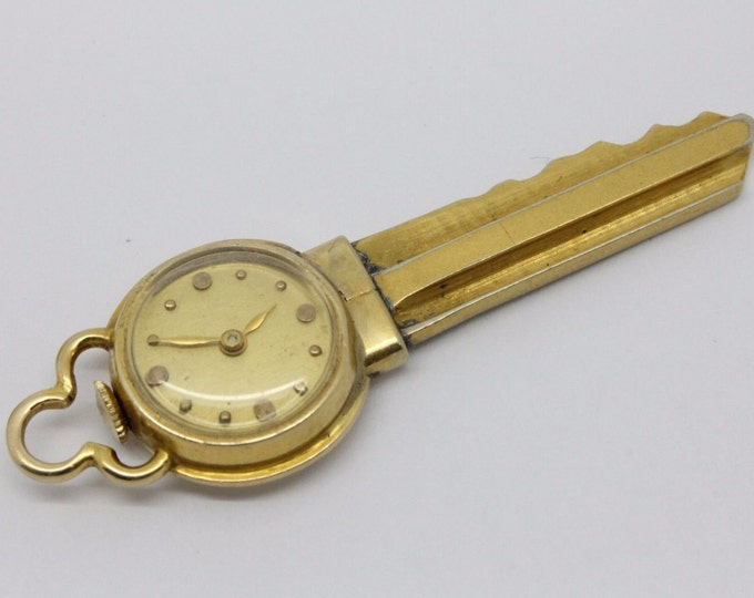 ANTIQUE... 14k Gold Blancpain Key Watch Manual Wind 17 Jewel Swiss Rayville - NEAT