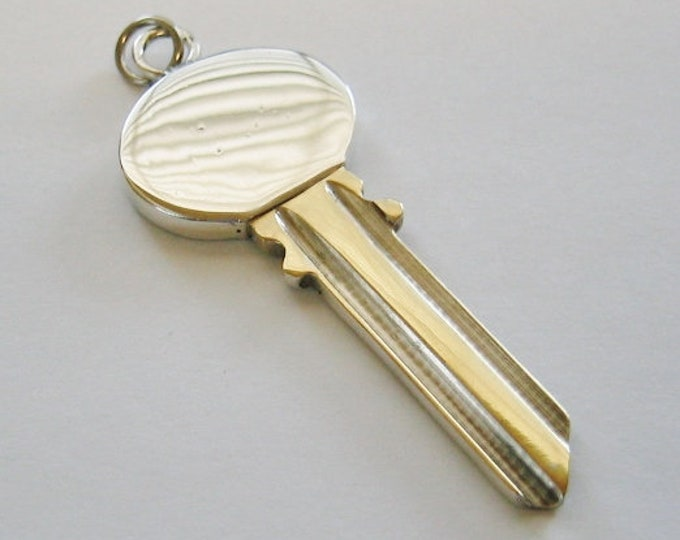 "Vintage....Sterling Silver & Brass ""House Key"" Pendent or Charm.. RARE !"