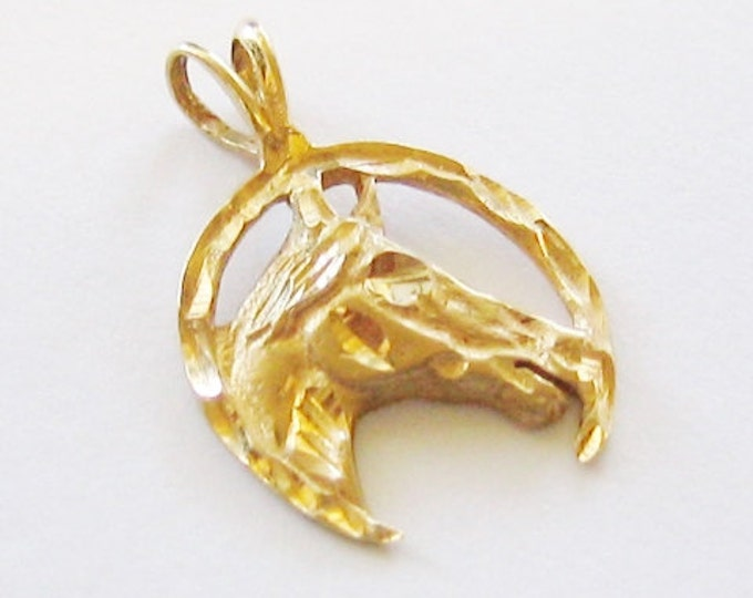 "Cute...14K Solid Yellow Gold, ""Unisex"" Lucky Horseshoe Pendent or Charm."
