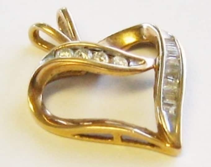 10k Yellow Gold & Diamond, Heart Charm or Pendent.