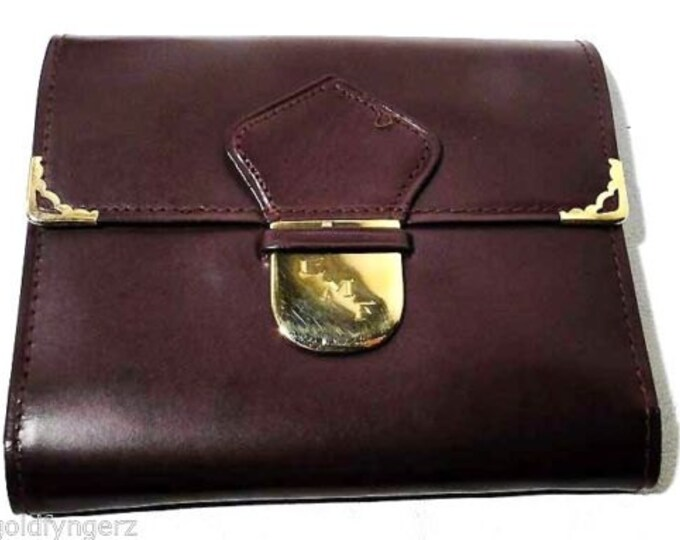 18K SOLID GOLD and Burgandy leather, Ladies Wallet/Clutch Purse…Mint W/Original Box ..WOW