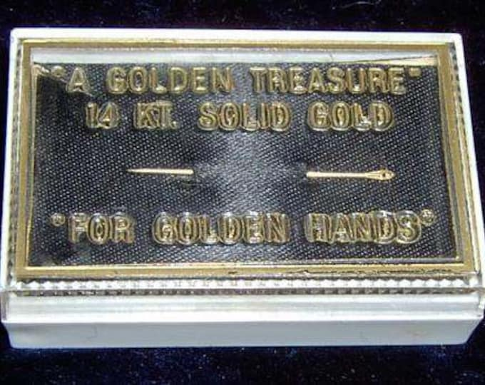 "Vintage...14k Solid Gold Sewing Needle ""A Golden Treasure"" ""For Golden Hands"" & Case"