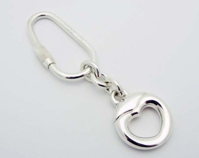 Estate... Stylish Heart Shaped MOVADO Key Chain in Sterling Silver.