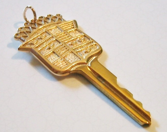 "Rare….14K Yellow Gold & Brass "" Cadillac "" Car Key Pendent !......."