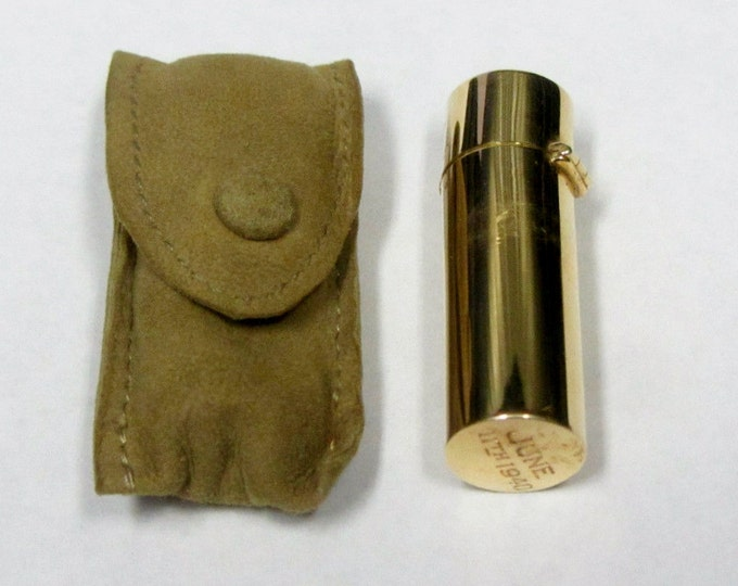 Vintage.. 14K Solid Gold Perfume or Scent Bottle W/Original Leather Pouch.
