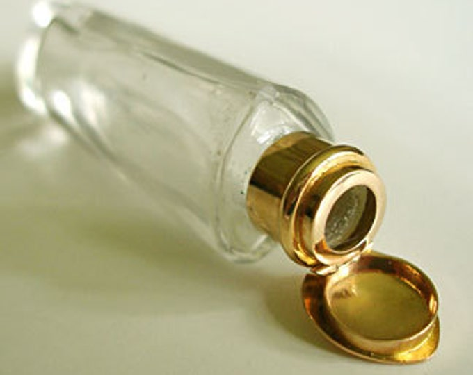 Antique.....15CT Solid Yellow Gold and Crystal Heart Shaped Perfume Bottle, W/Stopper. RARE !