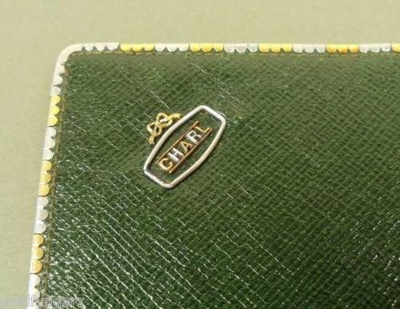 Vintage 18K Gold Trimmed J.C.VICKERY Green Leather Wallet....WOW