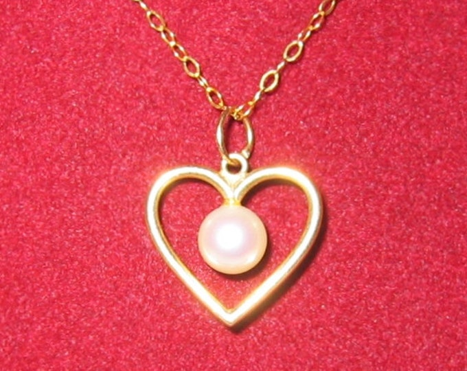 """14K Solid Yellow Gold, """"Pearl in Heart"""" Pendent or Charm...CUTE !"""