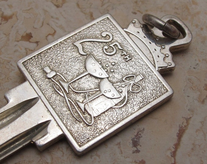 """Vintage... Solid Sterling Silver """"925"""" 25th Anniversary Ingot Key Pendant.Uncut And Ready To Use !"""