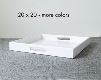 20 X 20 Square Ottoman Tray Table, Large Modern Coffee Table Tray For  Ottoman, Large Serving Tray With Handles