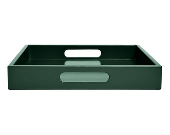 Dark Green Coffee Table Ottoman Tray With Handles Modern Lacquer Wood Serving Small To Extra Large Custom Home Decor