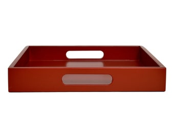 01ac3393db Dark Red Serving Tray with Handles, Kitchen Decor, Coffee Table Tray,  Ottoman Tray, Office Desk Accessories, Red Tray