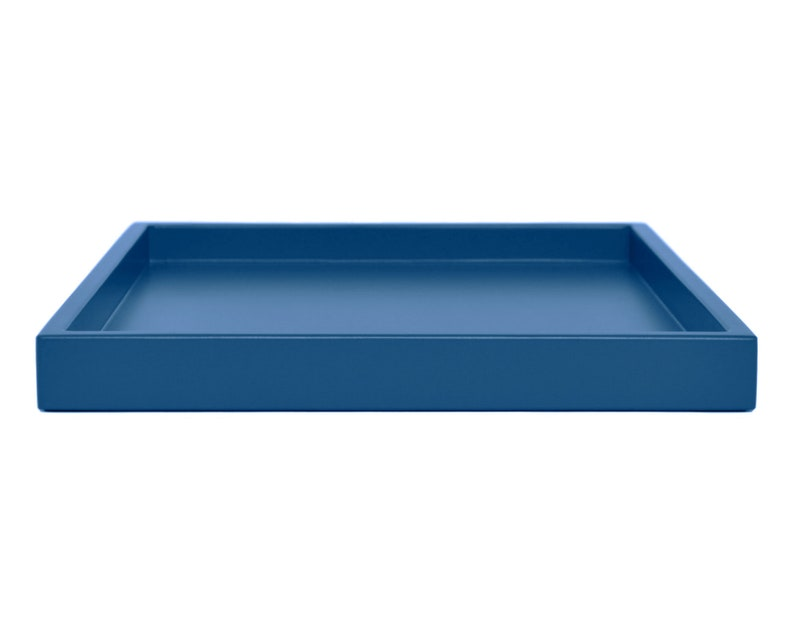 Blue Ottoman Coffee Table Tray Small to Extra Large Low Profile Modern Tray