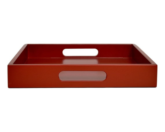 Dark Red Serving Tray With Handles Kitchen Decor Coffee Table Tray Ottoman Tray Office Desk Accessories Red Tray
