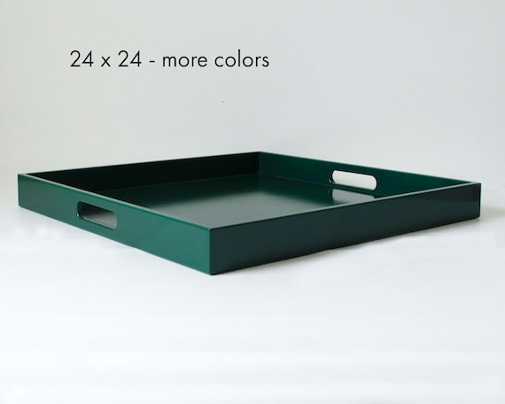 24 X 24 Large Square Ottoman Coffee Table Tray With Handles
