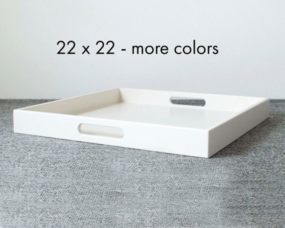 22 X 22 Square Coffee Table Tray Large Ottoman Tray With Handles
