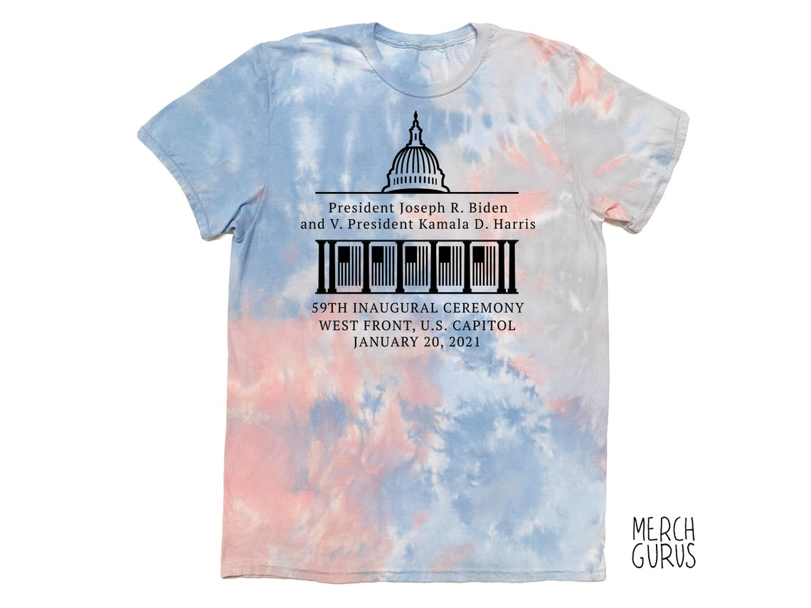 Biden Harris Inauguration Ceremony 2021 Tee in Multiple Colors Coral Dream Tie Dye