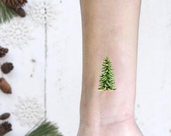 Christmas Tree Tattoo Ideas.Set Of 2 Temporary Tattoos Fern Symbol Of Mistery Unknow