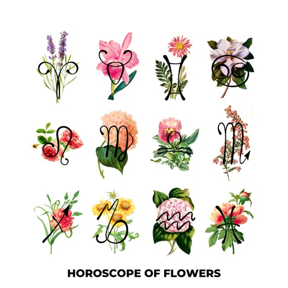 Temporary tattoo Horoscope of Flowers / Zodiac signs and their Flower /  Birthday gift Unisex / Symbolic tattoo