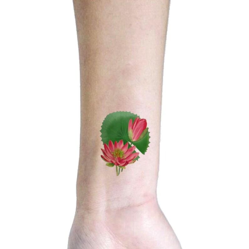9d48b721e6099 Pink lotus temporary tattoo Symbol of Spiritual growth | Etsy