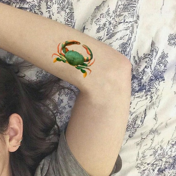 Temporary Tattoo Green Crab Symbol Of Reinassance Rebirth Etsy