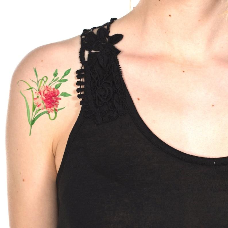 8b04c5e76 1th Wedding Anniversary's Gift / Tattoo Pink Carnation | Etsy