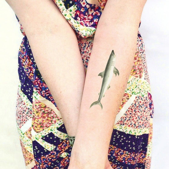 Shark Temporary Tattoo Symbol Of Courage Strength Gift Etsy