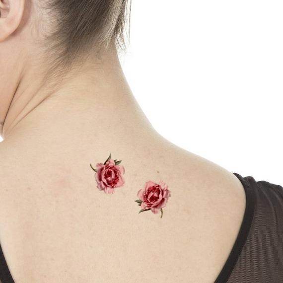 Set Of 2 Temporary Tattoos Peony Symbol Of Affection Etsy