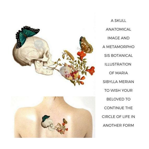 Tatouage Temporaire Tete De Mort Fleurs Et Papillon Symbole Etsy