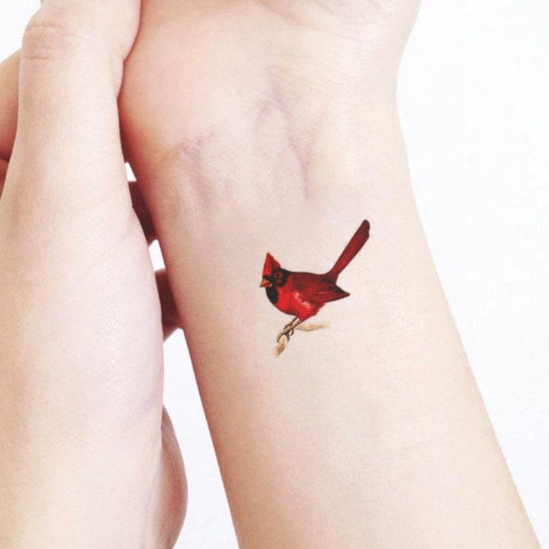 Watercolor Cardinal Tattoo: Set Of 2 Temporary Tattoo Cardinal Birds / Gift For Nature
