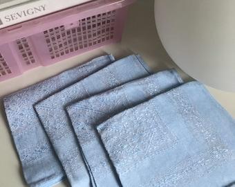 Vintage 1970s Powder Blue Cotton Blend Napkins Set of 4