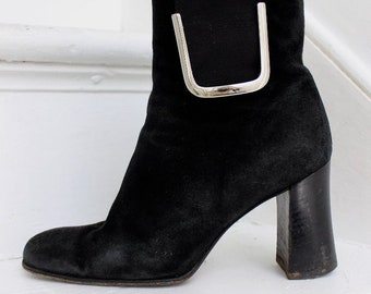 f362aed6f27ad Vintage 90s Designer Black Suede Ankle Boots By Giuseppe Zanotti
