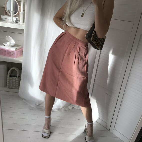 Vintage 1970s Salmon Pink Highwaisted Midi Skirt B