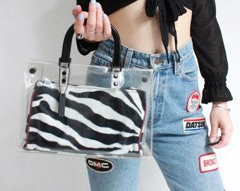 Vintage 90s Clear PVC Top Handle Zebra Print Handbag