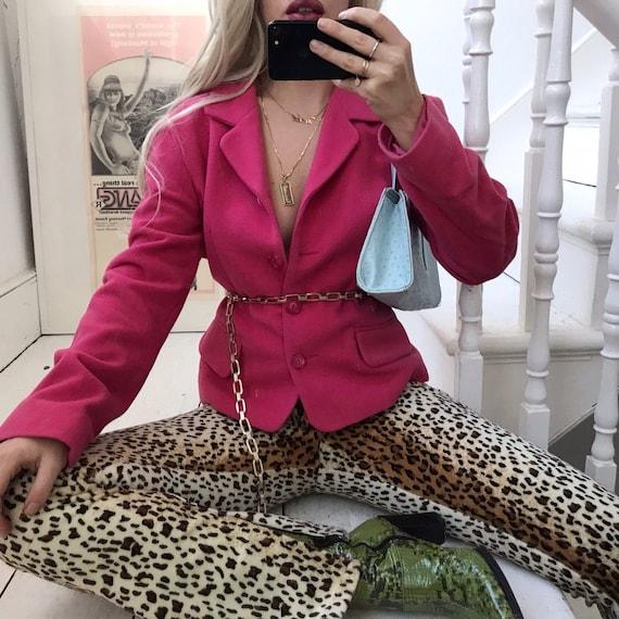 Vintage 90s Hot Pink Pure Wool Blazer Jacket