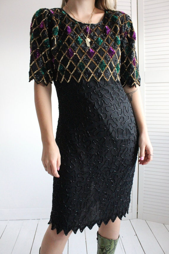 Vintage 90s Black Silk Sequin Cocktail Evening Jes
