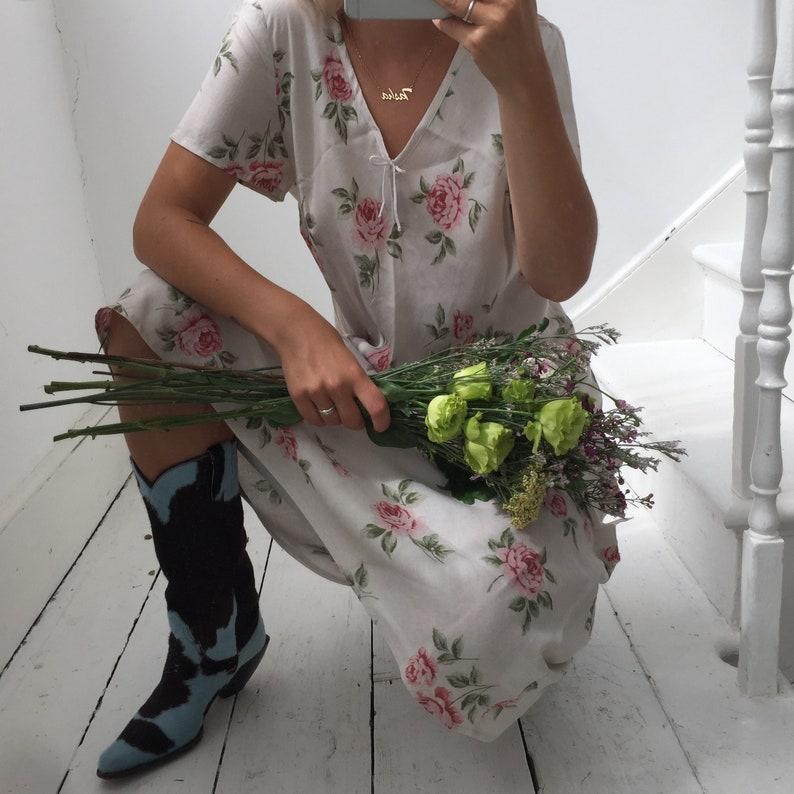 Vintage 90s Laura Ashley Beige Floral Cotton Linen Long Summer Dress