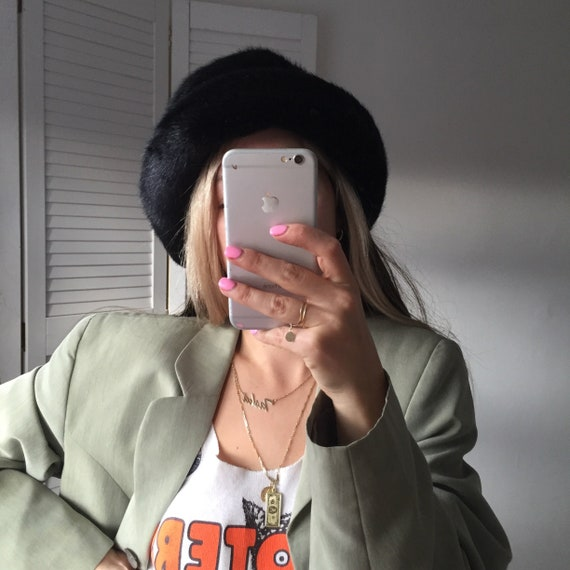 Vintage 90s Black Faux Fur Bucket Hat