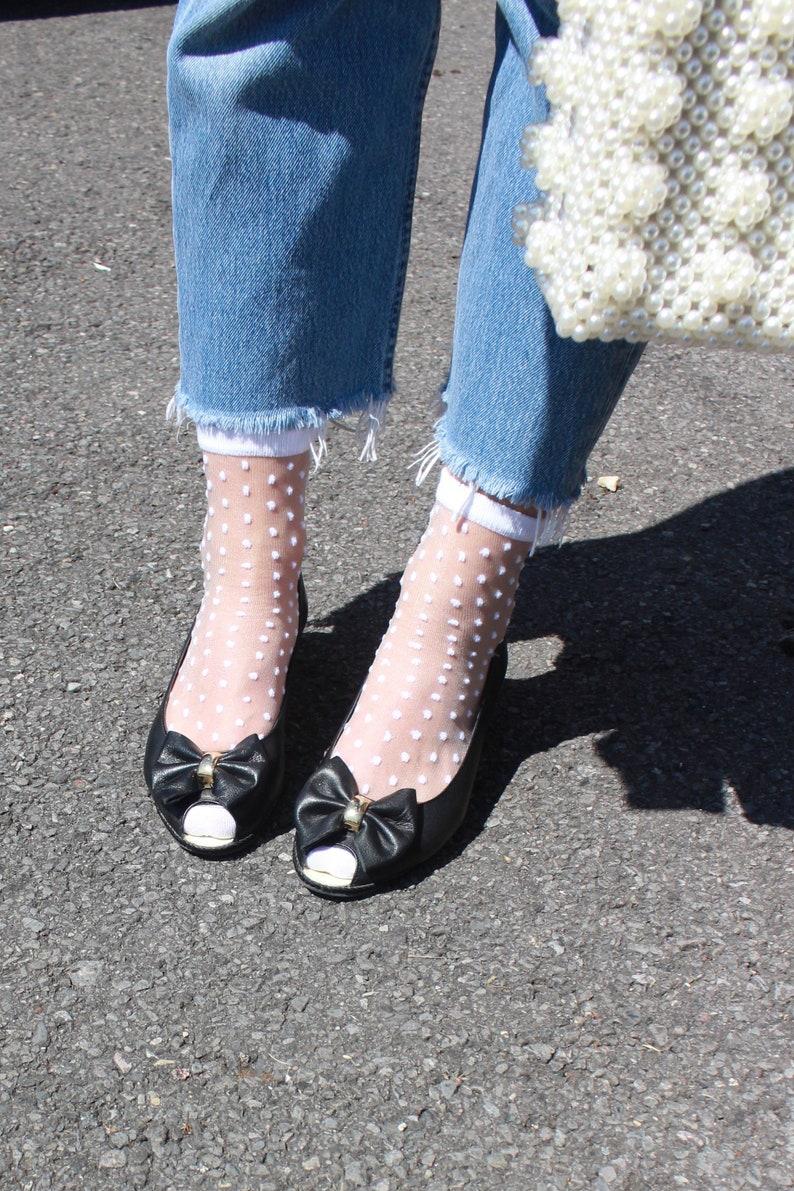 Vintage 80s Black Leather Bow Mini Wedge Heels